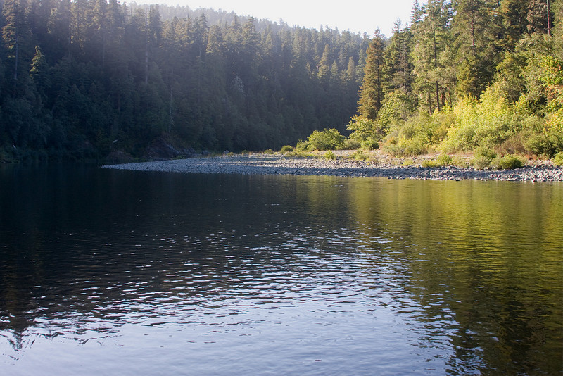 Evening sun on the Smith River near Jedediah Smith Redwoods State Park, California