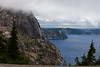 Crater Lake National Park. Llao Rock 8049ft is the highest part of the rim hidden in the clouds.