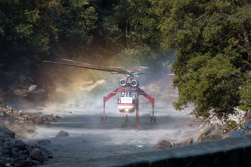 "Yosemite National Park.  To help battle the fire, helicopters lowered a hose into the Merced River.  A tank on the helicopter was quickly filled as it hovered.  Lots more pictures from our vacation <a href=""http://2dphotography.smugmug.com/Vacation/Vacation/9396149_AFodU"">here</a>  -Deb 9/13/09"
