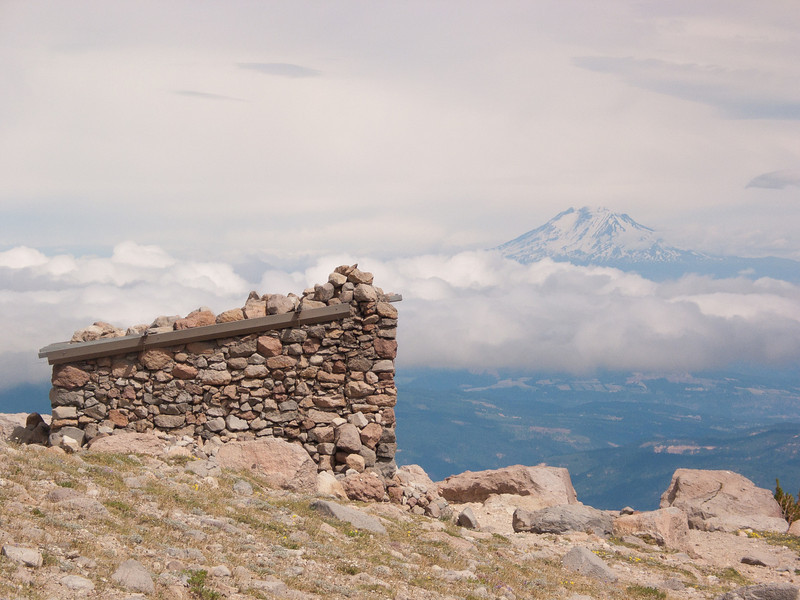 Stone Hut and Mt Adams<br /> This shelter is a place for climbers to seek protection while climbing to the top of Mt Hood.<br /> The Cooper Spur Series<br /> ~Deb<br /> 8/9/10