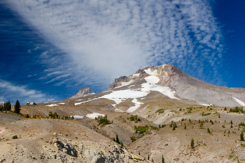 Mount Hood reaching for the sky<br /> Or at least it looks that way as a band of clouds lines up.<br /> ~Deb<br /> 9/19/2012