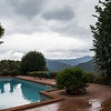 view from the pool towards the high peaks of Garfagnana National Park