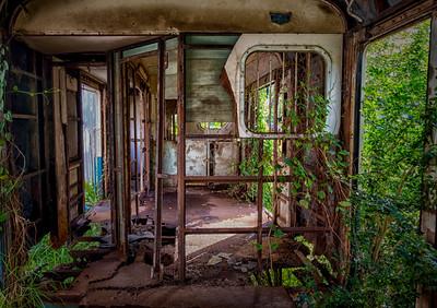 abandoned train car, samut sakhon, thailand