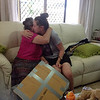 Tiff thanking Nan for the painting Nan did for Nathan, still in the package.