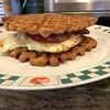 Waffle breakfast sandwich.