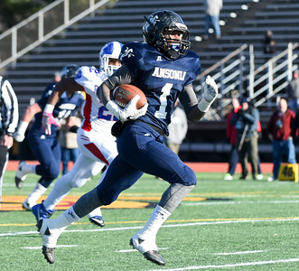 121016 Wesley Bunnell | Staff  Ansonia defeated Rocky Hill 28-21 in the Class S Football Championship Saturday at Veteran's Stadium in New Britain. Ansonia RB Markell Dobbs (1)