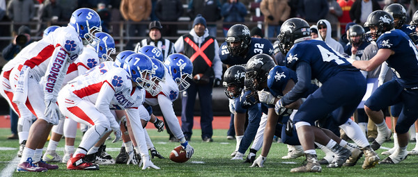 121016 Wesley Bunnell | Staff  Ansonia defeated Rocky Hill 28-21 in the Class S Football Championship Saturday at Veteran's Stadium in New Britain.