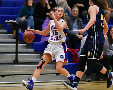121216  Wesley Bunnell | Staff  Plainville girls basketball was defeated by visiting Simsbury on Monday evening. Cheyenne Emmendorfer (15).