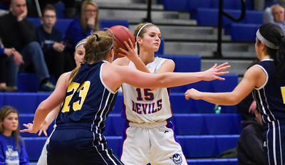121216  Wesley Bunnell | Staff  Plainville girls basketball was defeated by visiting Simsbury on Monday evening.  Cheyenne Emmendorfer (15) .