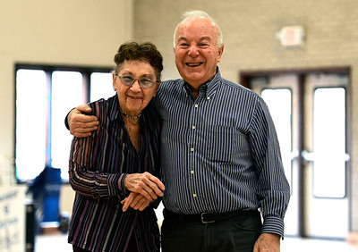 12/13/2016 Mike Orazzi | Staff Stephanie Dulka and Bruno Caravatta while dancing at the Bristol Senior Center Tuesday afternoon.