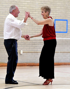 12/13/2016 Mike Orazzi | Staff Angela Marie Russo and Ray Pelletier while dancing at the Bristol Senior Center Tuesday afternoon.