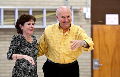 12/13/2016 Mike Orazzi | Staff Jill Baldwin and Silvio Casarotto while dancing at the Bristol Senior Center Tuesday afternoon.