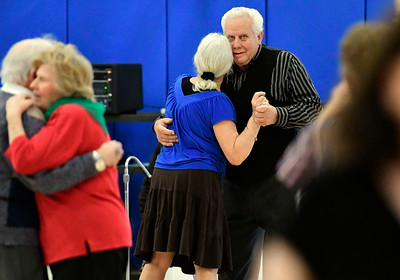 12/13/2016 Mike Orazzi | Staff Neil Gagnon and Eva Schilling while dancing at the Bristol Senior Center Tuesday afternoon.
