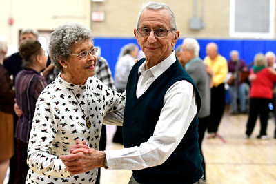12/13/2016 Mike Orazzi | Staff Marge Wilson and Ed Swenton while dancing at the Bristol Senior Center Tuesday afternoon.