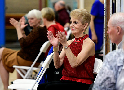 12/13/2016 Mike Orazzi | Staff Angela Marie Russo while dancing at the Bristol Senior Center Tuesday afternoon.