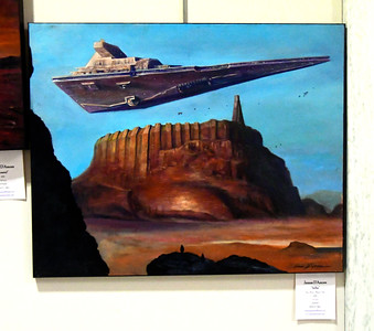 "12/14/2016 Mike Orazzi | Staff James D'Amore's ""Jedha"" on display during the Art in the Heart of the City Mayor's Invitational Opening Reception at city hall Wednesday."