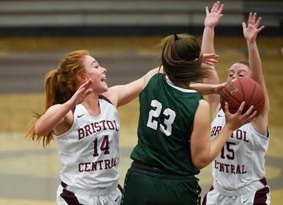 121916  Wesley Bunnell | Staff  Bristol Centrals girls basketball took on visiting Maloney on Monday evening. Senior Brianna Hamel (14) with Senior Meghan Hamel (15).