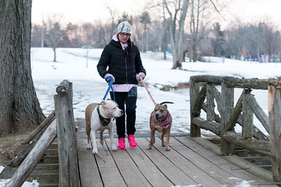 121916  Wesley Bunnell | Staff  Kortney Alix of New Britain walks her dogs Moose, left, and Jule through a frigid and snowy Stanley Quarter Park on Monday evening.