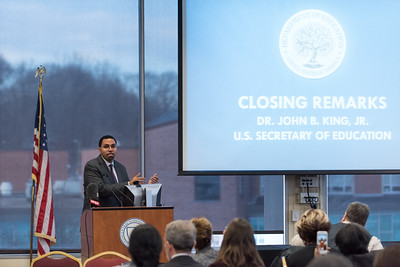121916  Wesley Bunnell | Staff  United States Secretary of Education John B. King Jr. visited CCSU on Monday afternoon during his two stops in CT as part of his Opportunity Across America Tour.