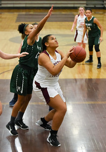 121916  Wesley Bunnell | Staff  Bristol Centrals girls basketball took on visiting Maloney on Monday evening. Junior Xia'ain Carasco (25).