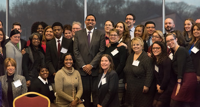 121916  Wesley Bunnell | Staff  United States Secretary of Education John B. King Jr. visited CCSU on Monday afternoon during his two stops in CT as part of his Opportunity Across America Tour. Secretary King is shown standing in the middle posing with area teachers.