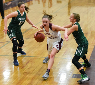 121916  Wesley Bunnell | Staff  Bristol Centrals girls basketball took on visiting Maloney on Monday evening. Freshman Ashley Watson (23).