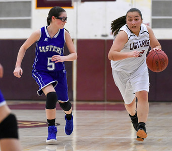121316  Wesley Bunnell | Staff  New Britain girls basketball was defeated by visiting Bristol Eastern Thursday night at New Britain High School. New Britain's Gabby Roy (42) and Bristol Eastern's Miranda Janick.