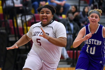 121316  Wesley Bunnell | Staff  New Britain girls basketball was defeated by visiting Bristol Eastern Thursday night at New Britain High School. New Britain's Jamyra Irizarry (5) calls for the inbound pass.