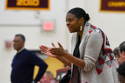 121316  Wesley Bunnell | Staff  New Britain girls basketball was defeated by visiting Bristol Eastern Thursday night at New Britain High School. New Britain head coach Tasha Manzie.