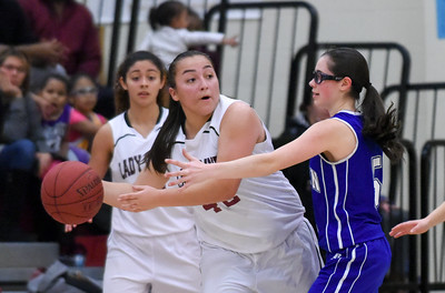 121316  Wesley Bunnell | Staff  New Britain girls basketball was defeated by visiting Bristol Eastern Thursday night at New Britain High School. New Britain's Gabby Roy (42).
