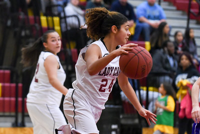 121316  Wesley Bunnell | Staff  New Britain girls basketball was defeated by visiting Bristol Eastern Thursday night at New Britain High School. New Britain's Savannah Gonzalez (24).