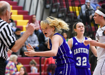 121316  Wesley Bunnell | Staff  New Britain girls basketball was defeated by visiting Bristol Eastern Thursday night at New Britain High School. Bristol Eastern's Diana Wnuk (14), center, reacts after being fouled by New Britain's Briana Clarke (32). Clarke would be called for a technical foul.