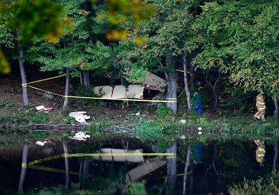 10/6/2016 Mike Orazzi | Staff The crash scene of an experimental aircraft that crashed near The Waterbury Airport in Plymouth Thursday evening. The pilot was flown by Life Star helicopter to Hartford Hospital.