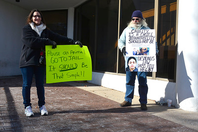 1/19/2016 Mike Orazzi | Staff Dee Christopher and Norman B. Whitman Jr. while outside Bristol Superior Court during a hearing for Veronica Reyes Tuesday.