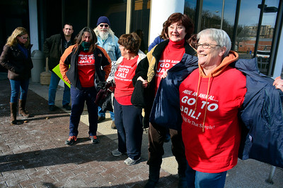 1/19/2016 Mike Orazzi | Staff A group of animal rights supporters outside Bristol Superior Court during a hearing for Veronica Reyes Tuesday.