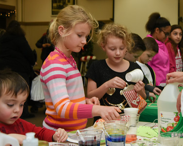 122716  Wesley Bunnell | Staff  The Bristol Historical Society held Winter Wonderland II on Tuesday Dec 27 with kid friend activities and movies. Maia Nocera, age 9 shown left, with Amelia Gorgon, age 9, at the Magic of Science table.
