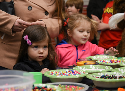 122716  Wesley Bunnell | Staff  The Bristol Historical Society held Winter Wonderland II on Tuesday Dec 27 with kid friend activities and movies. Josslin Landry, shown left age 3, picks out beads to make a necklace along with Aela Desmarais, age 4.