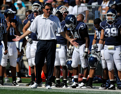 9/11/2010 Mike Orazzi | Staff UConn Randy Edsall during Saturday's win over Texas Southern at Rentschler Field.