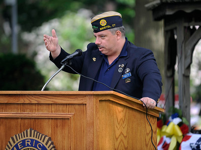 6/9/2016 MIke Orazzi | Staff Russ Trudel, commander of American Legion Post 2, during the opening ceremony at the Traveling Vietnam Wall That Heals on Memorial Blvd. in Bristol Thursday morning.