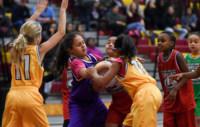122216  Wesley Bunnell | Staff  Players from the New Britain Junior Lady Hurricanes Basketball League played for the crowd during the half at the New Britain High School girls basketball game on Dec 22. Malia Luz Burgess, purple jersey, fights for the ball.