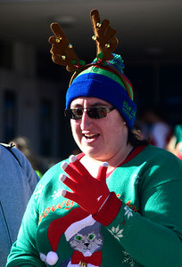 12/3/2016 Mike Orazzi | Staff Runner Sharon Kibbe during the 32nd installment of the Annual Tinsel Fun Run at Berlin High School Saturday morning put on by the Berlin YMCA and the Berlin Parks and Recreation Department.