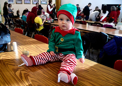 "12/3/2016 Mike Orazzi | Staff Carter Kalisz waits to meet Santa during the Giamatti Little League Center's ""23rd Annual Breakfast with Santa Saturday morning."