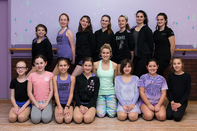 120616 Wesley Bunnell | Staff  Actress Allison Bailey who is the understudy for Glinda in the WICKED Broadway National Tour kneels in the center with students at Dance Legacy Caroline's Dance Center.