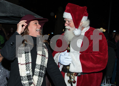 12/05/17   Wesley Bunnell | Staff  New Britain held their annual Tree Lighting at Central Park on Tuesday evening with a visit from Santa Claus. Mayor Erin Stewart enjoys a laugh with Santa before the tree lighting.