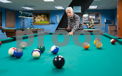 12/05/17   Wesley Bunnell | Staff  Gaston Toussaint, age 94, lines up his shot during a game of 8 ball at the Bristol Senior Center on Tuesday afternoon.