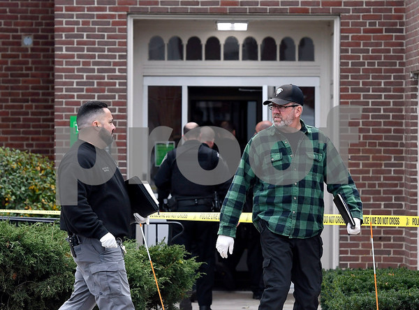 12/1/2017 Mike Orazzi | Staff Southington Police on scene of a bank robbery at the TD Bank on Main Street Friday afternoon.