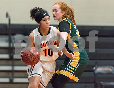 12/12/17  Wesley Bunnell | Staff  E.C. Goodwin girls basketball defeated O'Brien Tech 43-27 on Tuesday evening at E.C. Goodwin High School. Joarielys Pino-Martinez (10).