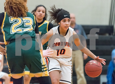12/12/17  Wesley Bunnell | Staff  E.C. Goodwin girls basketball defeated O'Brien Tech 43-27 on Tuesday evening at E.C. Goodwin High School. Joarielys Pino-Martinez (10).