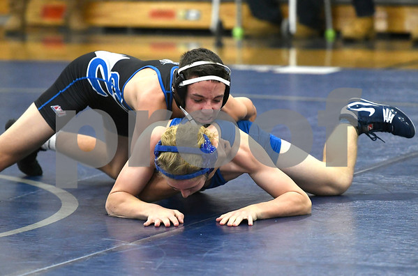 12/13/2017 Mike Orazzi | Staff Bristol Eastern's Tyler King and Southington's Jason Brault in the 138 match at Bristol Eastern.