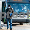 12/13/17  Wesley Bunnell | Staff<br /> <br /> A passengers exits a CTfastrak bus on a windy and cold Wednesday afternoon at the CTfastrak station in downtown New Britain.